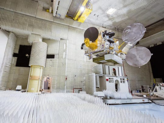 The Bangabandhu-1 satellite in a testing chamber.