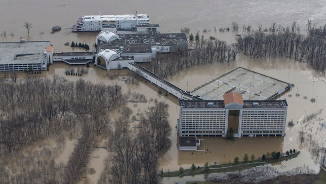 The Horseshoe Casino, west of New Albany, Ind. is surrounded by flood waters. Feb. 25, 2018