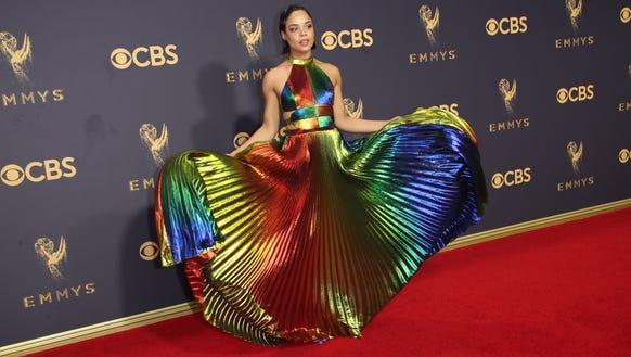 Tessa Thompson was rainbow bright on the red carpet.