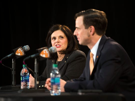 New University of Tennessee Athletic Director John Currie and new UT Chancellor Beverly Davenport hold a news conference in Thompson-Boling Arena on March 2, 2017.