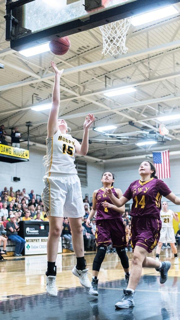 Murphy's Jessica Beckner jumps up for a shot during