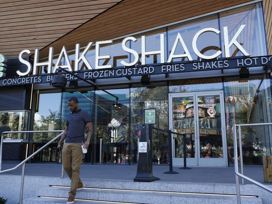 A Shake Shack restaurant is shown in front of the New York-New York hotel and casino in Las Vegas, Nevada.