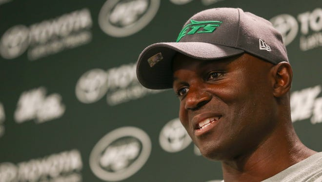 May 27, 2015; East Rutherford, N.J.; New York Jets head coach Todd Bowles speaks to the media after the organized team activities at Atlantic Health Jets Training Center.