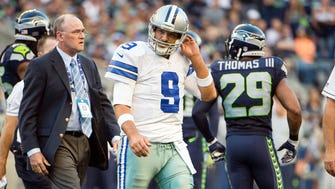 Cowboys QB Tony Romo leaves Thursday night's game after injuring his back.