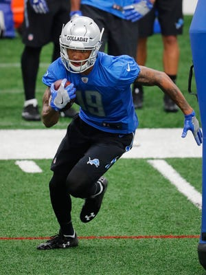 Lions receiver Kenny Golladay runs after a catch during the team's rookie minicamp in Allen Park on May 12, 2017.