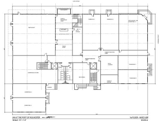 First floor plans for the proposed Port of Rochester project show a restaurant, coffee shop, hotel lobby and condos.