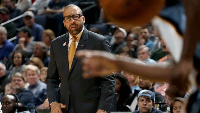 Memphis Grizzlies head coach David Fizdale watches his team play the Brooklyn Nets at FedExForum.