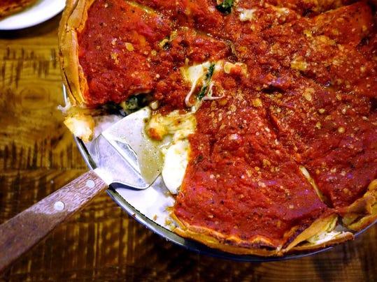 Stuffed deep dish pizza at Giordano s