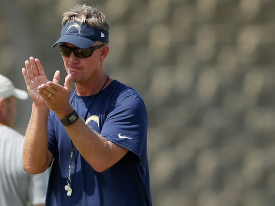 San Diego Chargers coach Mike McCoy applauds during NFL football training camp Friday, Aug. 1, 2014, in San Diego. (AP Photo/Gregory Bull)