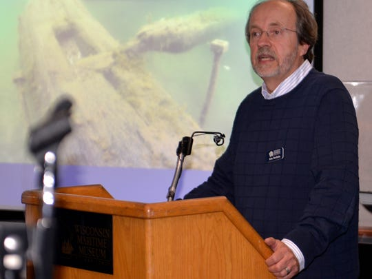 John Broihahn of the Wisconsin Historical Society speaks about the significance of the shipwrecks in the proposed Lake Michigan national marine sanctuary during a public scoping meeting held Nov. 17 at the Wisconsin Maritime Museum in Manitowoc.