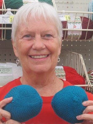 Linda Kroll of Port St. Lucie knits soft yarn prostheses for women who have had mastectomies and are awaiting reconstruction.