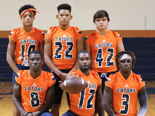 Beau Chene's defense includes (front, from left) Tyler Lewis, Jylon Henry, Markaylin Milburn, (back, from left) Christian Fontenot, Peyton Williams and Jacob Matte.