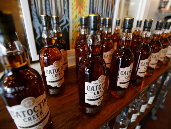Catoctin Creek Distillery whiskey is on display in