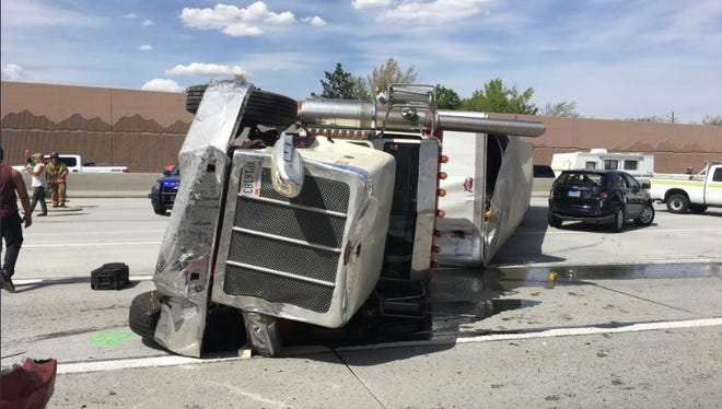 A semi truck rolled over on the the Interstate 80 Eastbound blocking all traffic May 4, 2018.