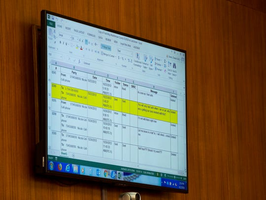 A transcript of text messages sent between Kevin Beverly and his ex-wife Nicole Beverly is displayed as evidence on a screen in front of the courtroom on Monday, April 2, 2018, at Washtenaw Country Trial Court in Ann Arbor.