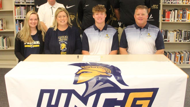 Shelby High golfer Connor Brown signed a National Letter of Intent on Wednesday to attend UNC Greensboro. Joining him for the occasion included (left to right sitting) Gracie Brown, Jada Brown, Connor Brown, Dean Brown; )as well as Left to right standing) Shelby High golf coach Steve Hamrick, Shelby High principal David Allen and Shelby High athletic director Mike Wilbanks.