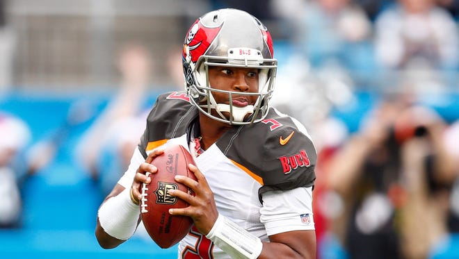 Tampa Bay Buccaneers quarterback Jameis Winston (3) looks to pass the ball in the second quarter against the Carolina Panthers at Bank of America Stadium.
