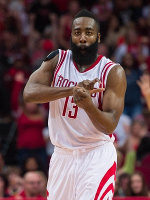 James Harden celebrates a bucket during his 35th 30-point game of the season.