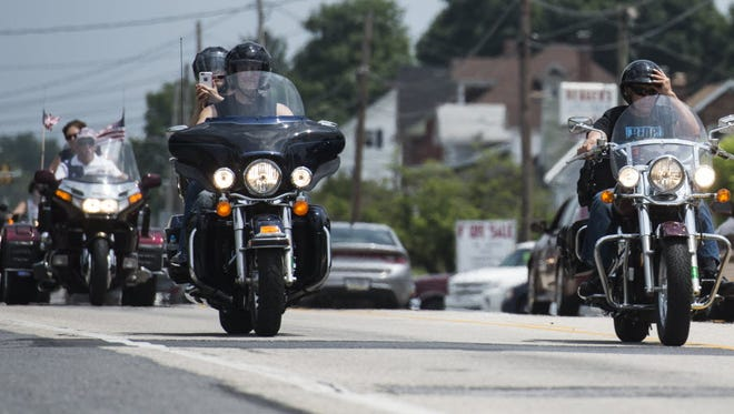 Motorcycles head down Route 422 in Annville en route to the Cleona Police Department during the 11th annual Ride for Wise on June 14, 2015. This year's ride is scheduled for June 5. The ride benefits the Michael H. Wise II Foundation, which supports the families of police officers and firefighters. Wise, a Lebanon native and Reading police officer, was killed in the line of duty in 2004.