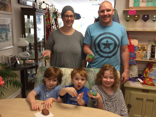 The Chamberlain family show off their creations for Fondy Rocks!!! on a Wednesday after school at Macy Place open art studio in Fond du Lac. Front row, from left are: Emmett, 5, Cyrus 3, and Ava, 8. Back row: Molly and Jeremy Chamberlain. Wednesday, Sept. 7, 2017.
