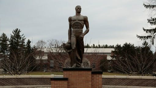 The Spartan statue on Michigan State University campus.