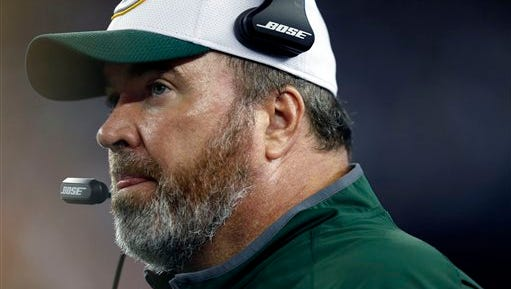 Green Bay Packers head coach Mike McCarthy watches action from the sideline in the first half of an NFL preseason football game against the New England Patriots Thursday, Aug. 13, 2015, in Foxborough, Mass. (AP Photo/Michael Dwyer)