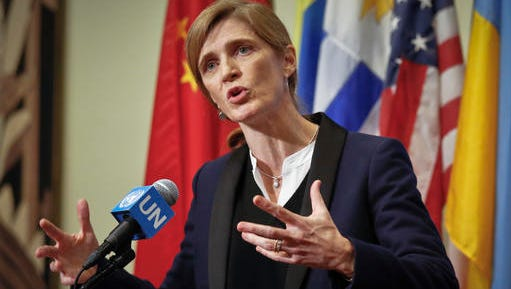 U.S. Ambassador to the United Nations Samantha Power speaks during a press briefing on Syria, during a break in closed meetings of the Security Council, Friday Dec. 16, 2016 at U.N. headquarters. (AP Photo/Bebeto Matthews)