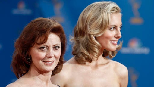 FILE - In this Aug. 29, 2010, file photo, Susan Sarandon and her daughter, Eva Amurri arrive for the 62nd Primetime Emmy Awards in Los Angeles. Amurri, who now goes by her married name, Eva Amurri Martino, wrote on her blog Sunday, Jan. 1, 2017, that her infant son sustained a fractured skull and brain bleeding after being accidently dropped by a nurse, and she has suffered anxiety in the weeks since the incident.