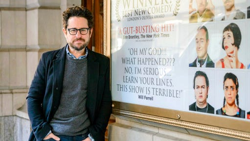 "In this March 2, 2017 photo, director-producer J.J. Abrams poses for a portrait to promote ""The Play That Goes Wrong"" at the Lyceum Theatre in New York."