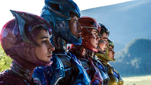 "In this image released by Lionsgate, Naomi Scott, from left,  RJ Cyler, Dacre Montgomery, Ludi Lin and Becky G appear in a scene from, ""Power Rangers."""