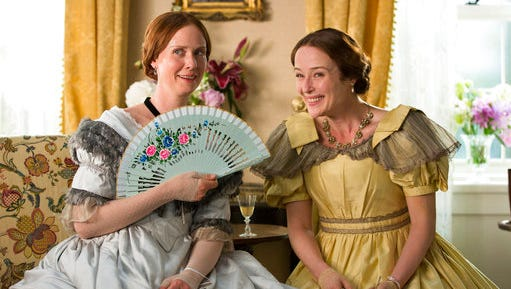 "This image released by Music Box Films shows Cynthia Nixon, left, and Jennifer Ehle in a scene from, ""A Quiet Passion."""