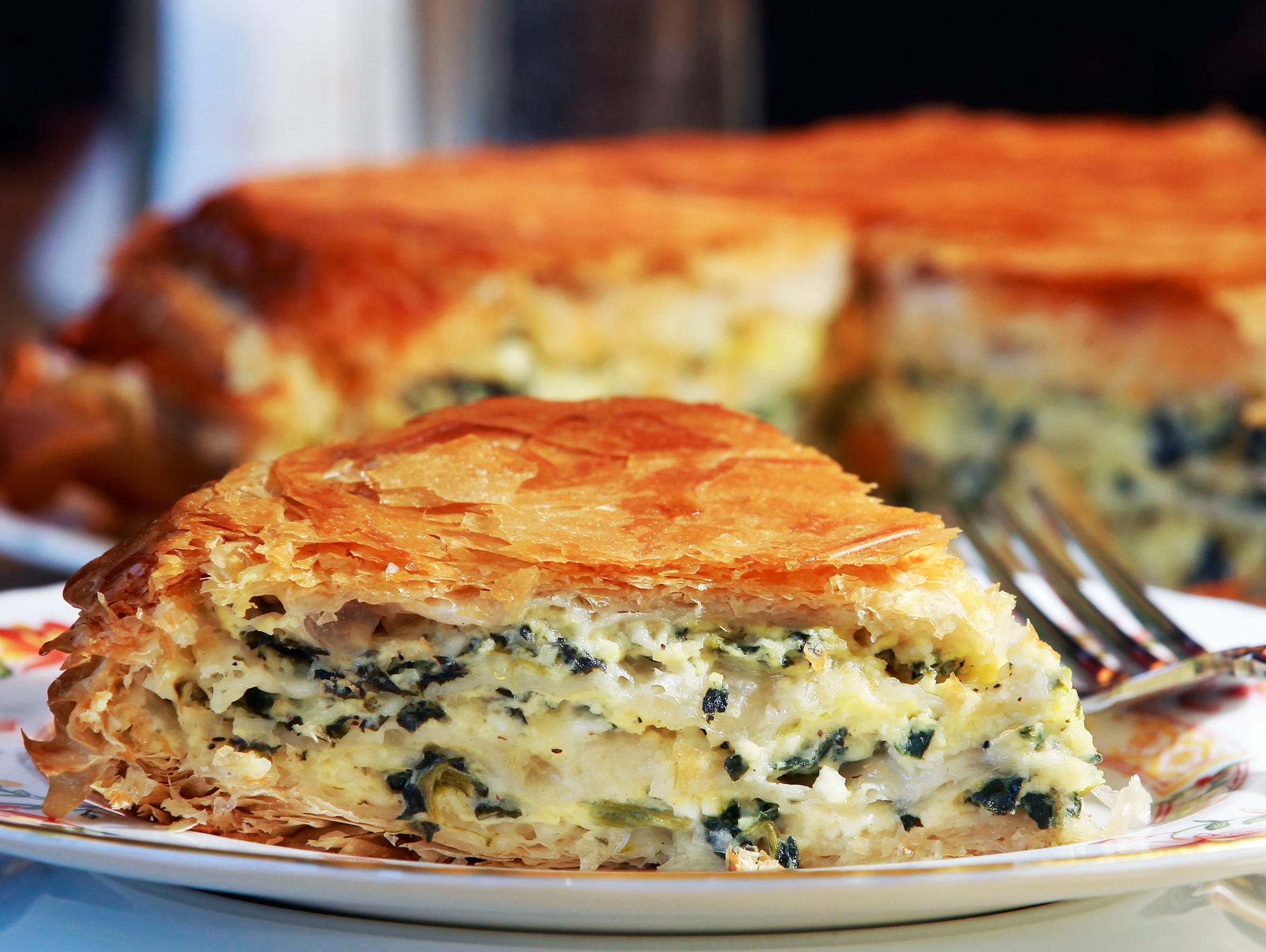 Spinach burek, spinach and cheese wrapped in buttery