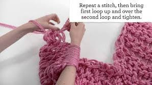 Here's what that arm-knitted infinity scarf looks like.