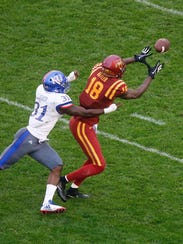 Iowa State sophomore receiver Hakeem Butler pulls in