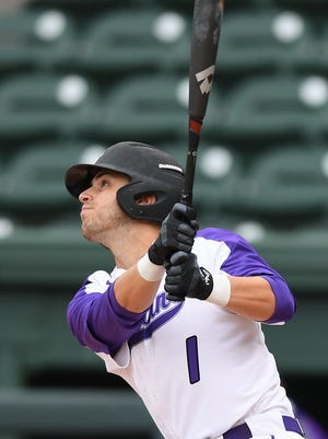 Sims Griffith, shown in a 2017 game, had the key hit in Furman's win against South Carolina on Tuesday.