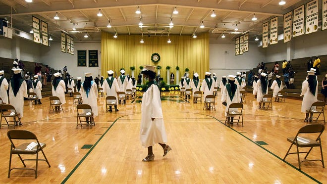 Seniors who earned diplomas from Kinston High School in June pushed KHS to a record four-year graduation rate and helped Lenoir County Public Schools continue its steady climb to a new high for the district of 85.4 percent.