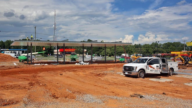 Construction continues on the future Marathon gas station on the corner of South Post Road and U.S. 74.