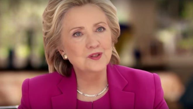 """Democratic presidential candidate Hillary Clinton speaks in an ad, called """"Dorothy,"""" that aired across Iowa."""
