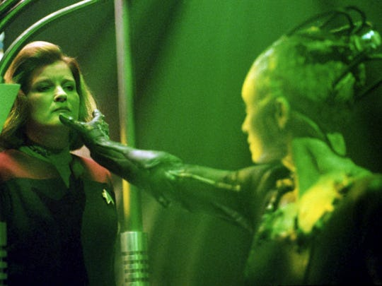 "The Borg Queen captures Captain Janeway in an episode of ""Star Trek: Voyager"""