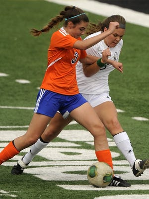 Thomas Metthe/Reporter-News   Abilene High's Allie Nichols (right) fights for the ball with San Angelo Central's Mikaylee Pope (left) during the first half of the Lady Eagles' 2-0 win on Saturday, Feb. 20, 2016, at Shotwell Stadium.