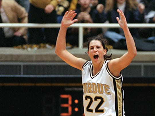 Purdue's Stephanie White celebrates during the final minutes of an upset of No. 1 Tennessee on Nov. 15, 1998. White is now Vanderbilt's coach.