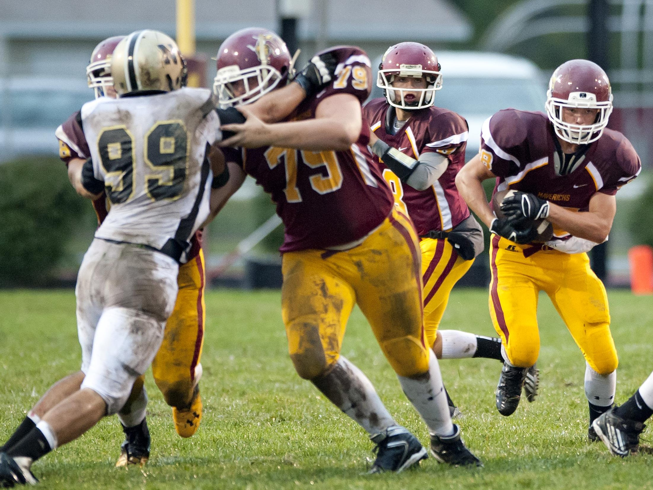 McCutcheon offensive lineman Nick Cox (79) helped running back Blake Elming run for more than 2,200 yards last season. Both played in Friday night's North-South All-Star Game.