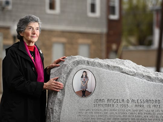 Rosemarie D'Alessandro will unveil a child safety forever fountain in the White Butterfly Garden, in front of the Hillsdale Train Station, in honor of her daughter, Joan Angela D'Alessandro, on April 19, 2017 the 45th anniversary of her death. Joan was seven-years-old when she was murdered by her neighbor while delivering Girl Scout cookies on April 19, 1973.