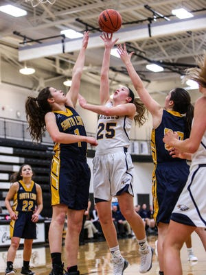 Lexey Tobel (25) is one of two Hartland basketball players on the All-Livingston County first team and is Player of the Year.