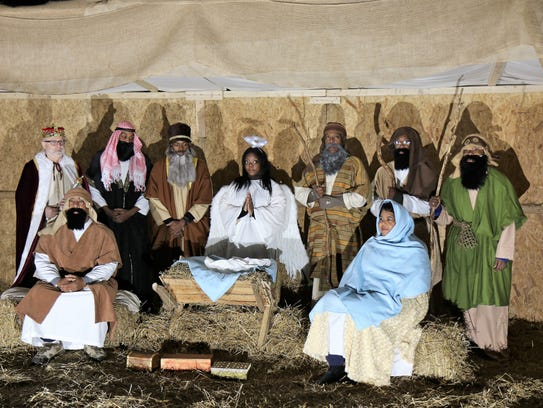 A living Nativity held Friday, Dec. 15, 2017, at Historic First Baptist Church in downtown Jackson, Miss.