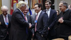 President Trump greets Ford CEO Mark Fields in a meeting