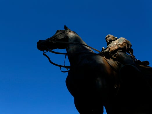 The statue of Nathan Bedford Forrest sits in Health