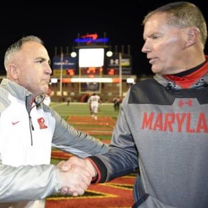 Rutgers coach Kyle Flood and then-Maryland coach Randy