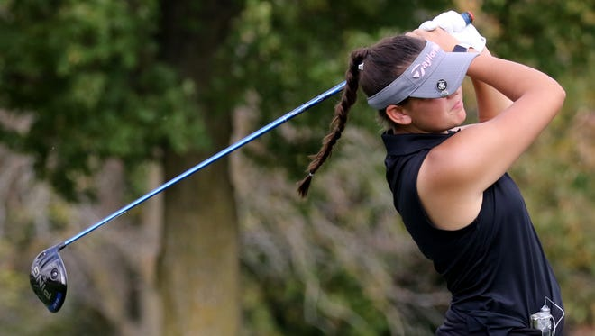 Franklin's Courtney Matschke tees off on the 10th hole at Wanaki Golf Course during the Brookfield Central Sectional on Tuesday.