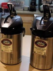 Coffee is self-serve at the new Christy's Cafe in Victor,